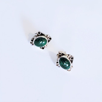 Fair Trade Malachite and Sterling Silver Post Earrings from Nepal
