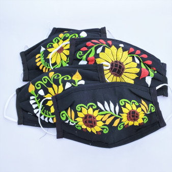 fair trade reusable cotton facemask with embroidery from mexico