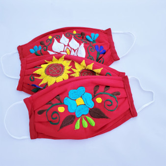 fair trade pleated cotton reusable embroidered face mask from Mexico