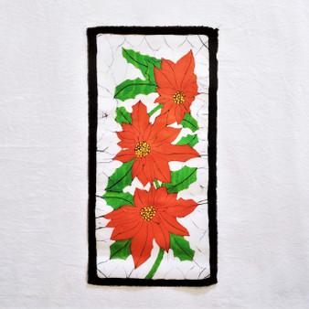 fair trade batik pointsettia wall art from nepal