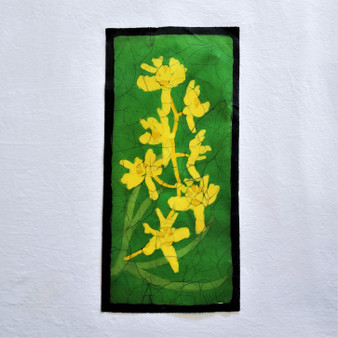 fair trade batik yellow orchid floral wall art from nepal