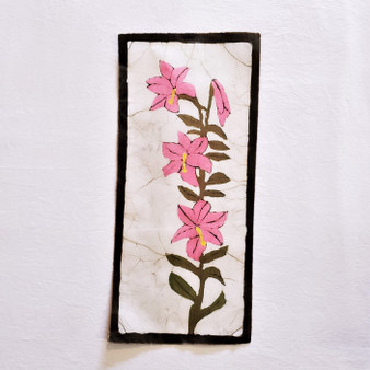 fair trade batik pink lily floral wall art from nepal