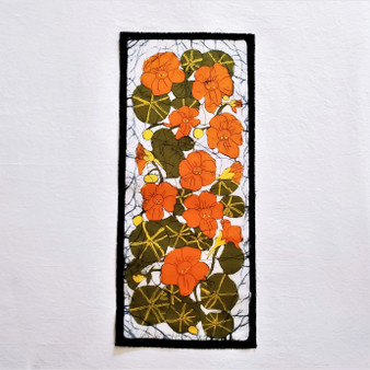 fair trade batik nasturtium floral wall art from nepal