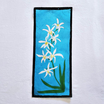 fair trade batik daki white flower floral wall art from nepal