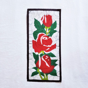 fair trade batik red rose floral wall art from nepal