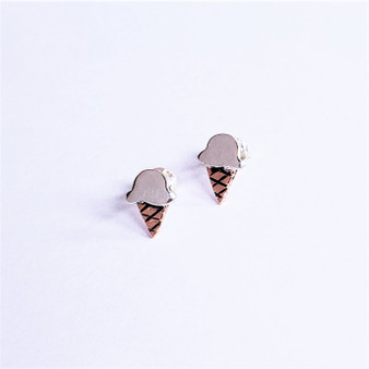 fair trade sterling silver and copper ice cream cone post earrings from mexico