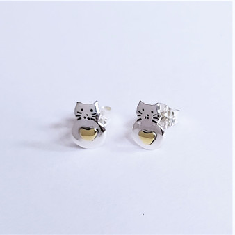 fair trade sterling silver and brass cat post earrings from mexico