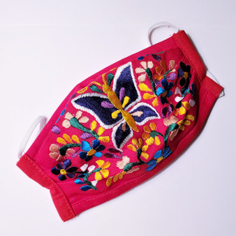 fair trade reusable cotton embroidered face mask with ear bands from Mexico