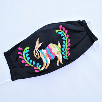 fair trade embroidered pleated cotton face mask from Mexico
