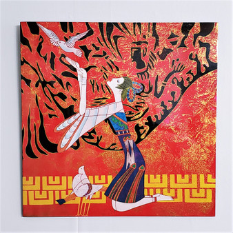 Fair trade lacquer woman with dove wall art from Vietnam