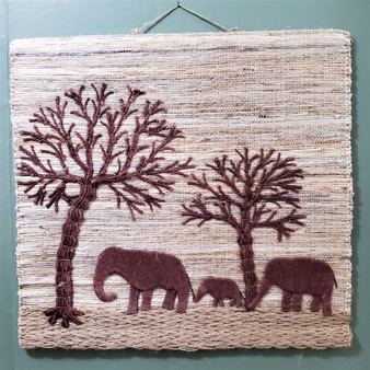 Woven Jute Elephant Wall Art from India