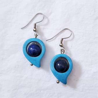 fair trade blue soapstone and lapis earrings from Afghanistan