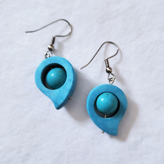 fair trade blue soapstone and turquoise earrings from Afghanistan
