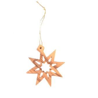 fair trade olive wood star ornament from Holyland