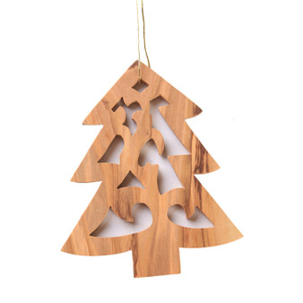 fair trade olive wood christmas tree ornament from the Holy land
