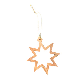 fair trade olive wood star ornament from the Holyland