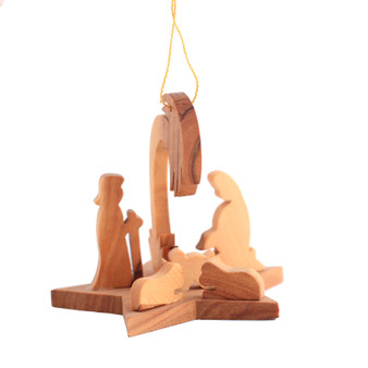 fair trade olive wood dimensional nativity ornament from the Holy land