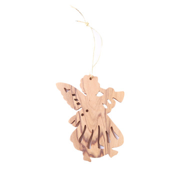 fair trade olive wood angel ornament from the Holyland