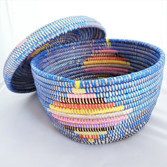 Fair trade lidded prayer mat basket from Senegal