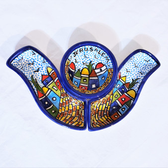 fair trade ceramic hors d'oeuvres dish set from Palestine