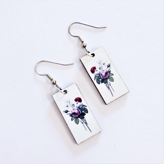 Fair trade rose bouquet on eucalyptus wood dangle earring from Guatemala