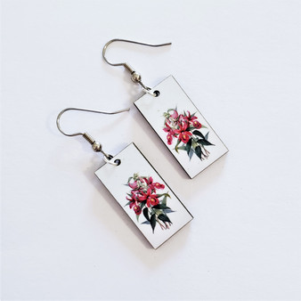 Fair trade orchid on eucalyptus wood dangle earring from Guatemala