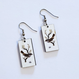 Fair trade sparrow on eucalyptus wood dangle earring from Guatemala