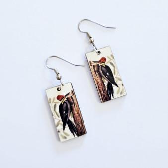 Fair trade woodpecker on eucalyptus wood dangle earring from Guatemala