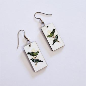 Fair trade painted bunting on eucalyptus wood dangle earring from Guatemala