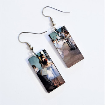 Fair trade eucalyptus wood dangle earring from Guatemala with The Dance by Edgar Degas