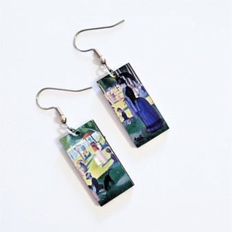 fair trade Eucalyptus Wood Dangle Earring with A Sunday Afternoon on the Island of La Grande Jatte by Georges Seurat from Guatemala