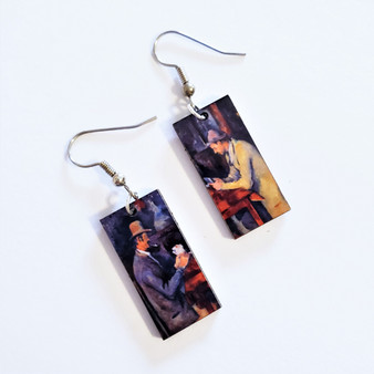 Fair Trade Eucalyptus Wood Dangle Earring with Card Players by Paul Cezanne from Guatemala