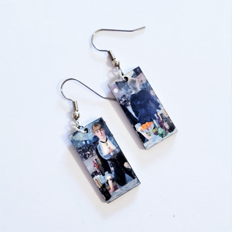 Fair Trade Eucalyptus Wood Dangle Earring with Bar at the Folies Bergere by Edouard Manet from Guatemala