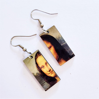 Fair Trade Eucalyptus Wood Dangle Earring with Mona Lisa by Leonardo da Vinci from Guatemala