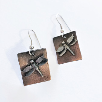 fair trade copper and antique pewter dragonfly earrings from India