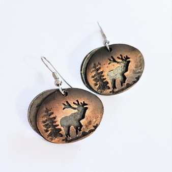 fair trade copper and oxidized pewter elk earrings from India