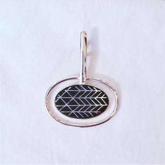 fair trade bidri silver inlay and zinc copper alloy pendant from india