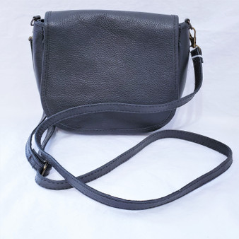 black leather cross body purse from Nepal