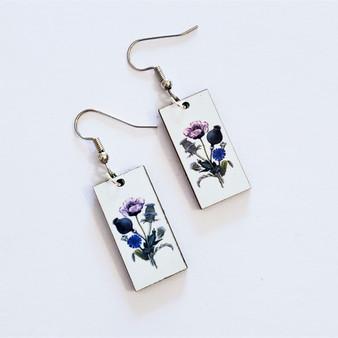 Fair trade poppy on eucalyptus wood dangle earring from Guatemala