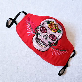 reusable cotton embroidered sugar skull duckbill face mask with ear bands with from mexico