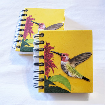 fair trade elephant pooh paper spiral bound journal with hummingbird from Sri Lanka
