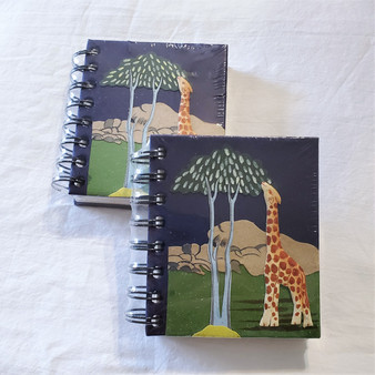 fair trade elephant pooh paper spiral bound journal with giraffe from Sri Lanka