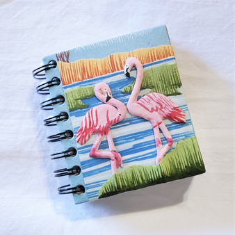 fair trade elephant pooh paper spiral bound journal with flamingo from Sri Lanka