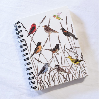 fair trade elephant pooh paper spiral bound journal with birds from Sri Lanka