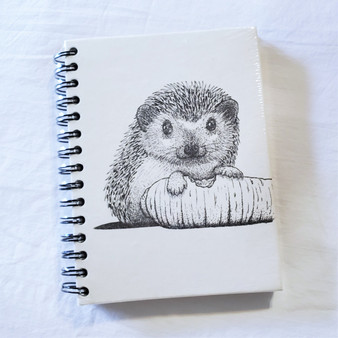 fair trade elephant pooh paper spiral bound journal with hedgehog from Sri Lanka