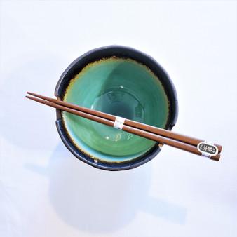 Fair trade ceramic noodle bowl set with chopsticks from Japan