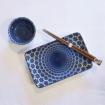 Fair Trade Hand Painted Ceramic Sushi Set in Box from Japan