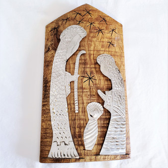 Hand embossed stainless steel wall hanging nativity from Dominican Republic