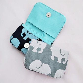 Fair trade cotton canvas credit card holder with elephant from Cambodia