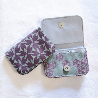 Fair trade screen printed cotton canvas credit card holder from Cambodia